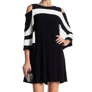 Nina Leonard Contrast Stripe Cold Shoulder Dress